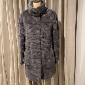 Dennis Basso gray sheared mink reversible jacket